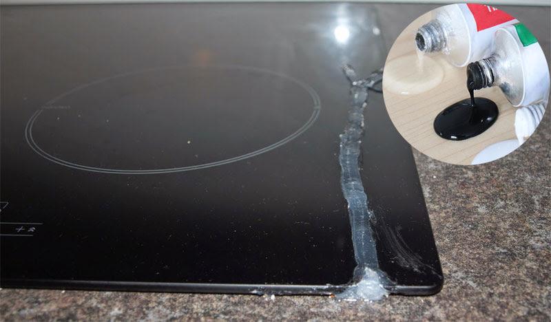 Hướng dẫn khắc phục vết nứt mặt kính bếp từ bằng keo dán